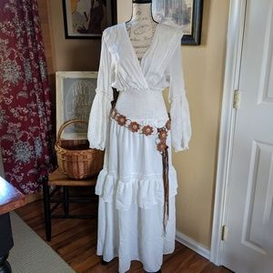 Max Studio maxi white puff sleeves Ruffle dress